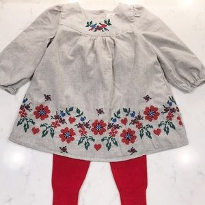 Baby Gap Embroidered Dress and Tights Red EUC